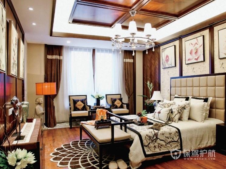 中式古典风卧室实木井格吊顶装修效果图