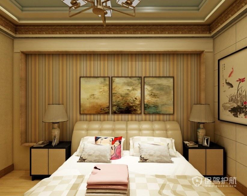 日式混搭中式风卧室背景墙装饰画效果…