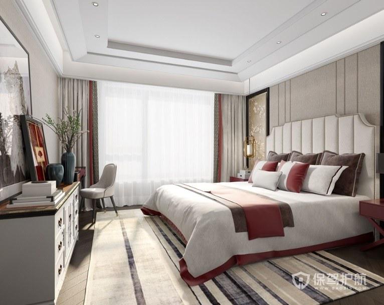 新中式混搭風臥室歐式床裝修效果圖