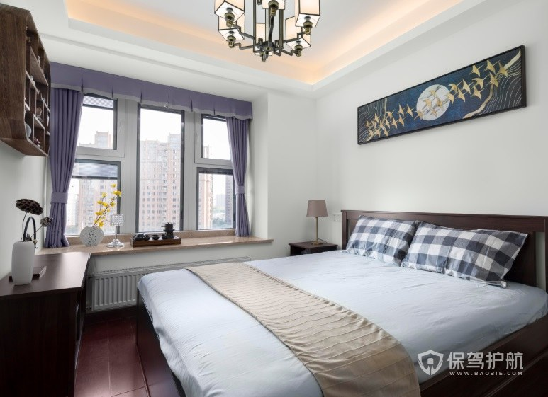 新中式复古风卧室方格子窗户装修效果图