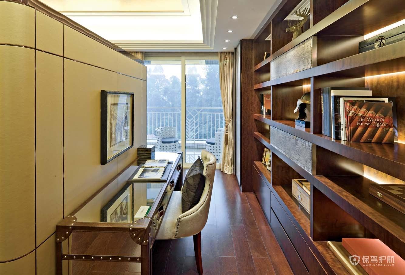 现代古典混搭风三居室书房装修效果图