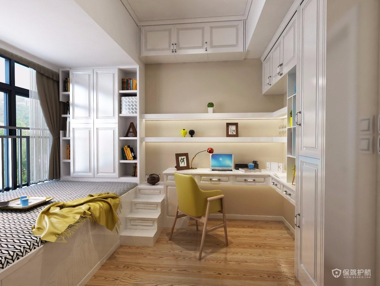 现代美式风格三居室书房榻榻米装修效果图