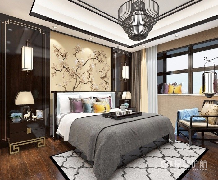 新中式豪华卧室古典铁艺灯饰装修效果图