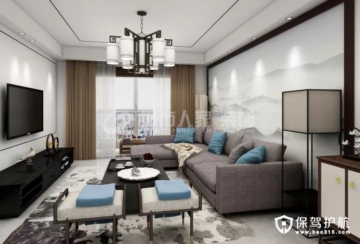 紫煜臻城124㎡新中式风格三居室装修效果图