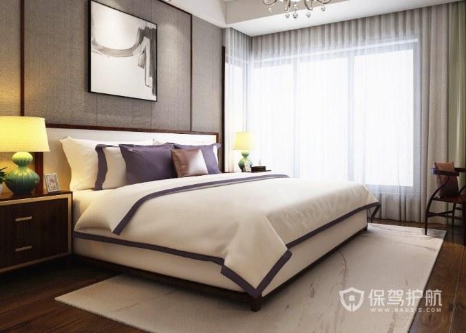 新中式淡雅风卧室陶瓷台灯装饰效果图