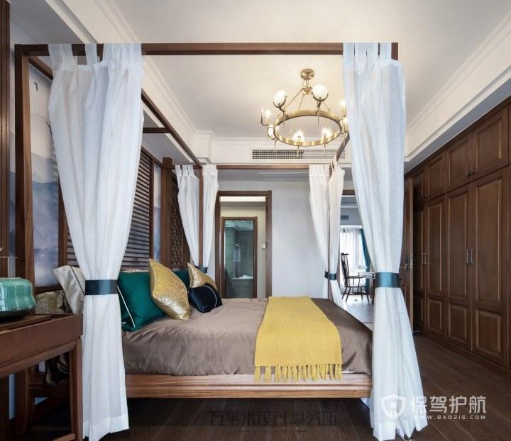 新中式复古风卧室悬挂金属灯装饰效果图