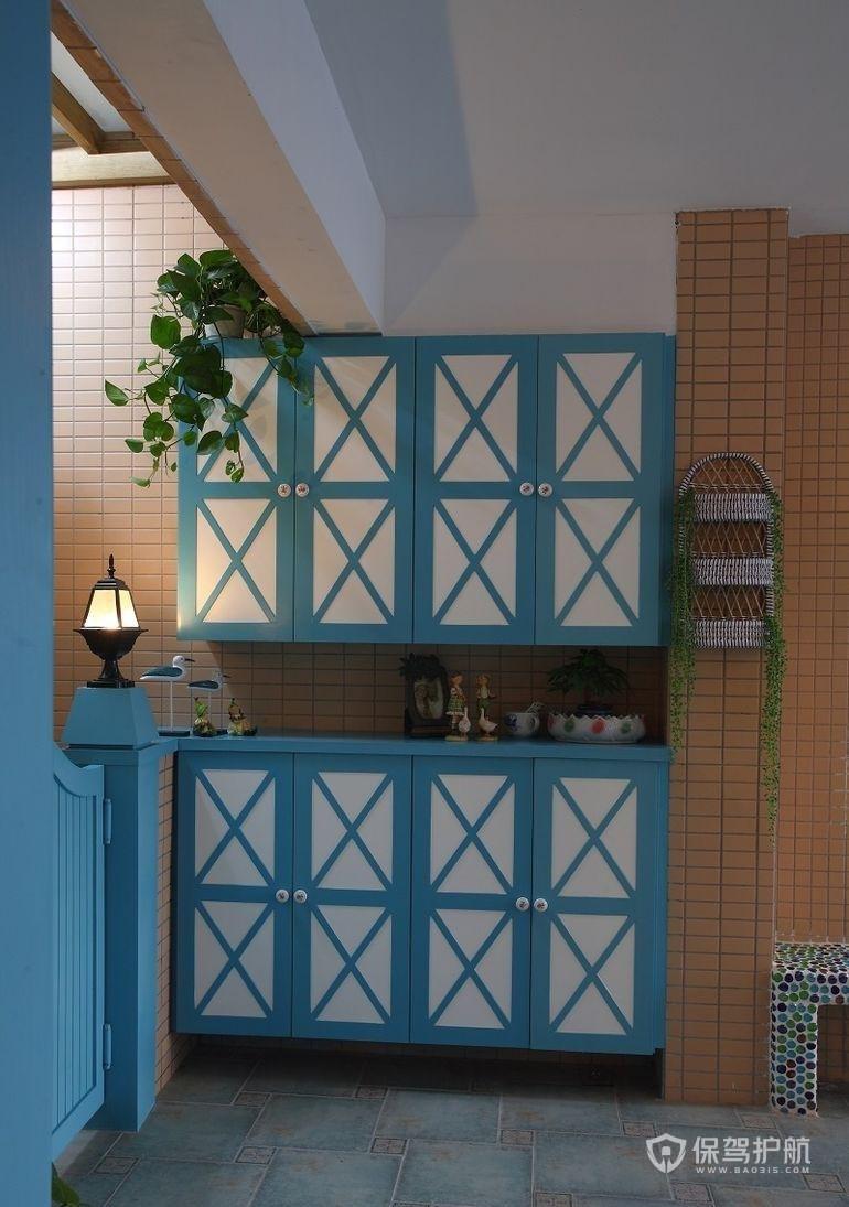 地中海风小复式玄关柜装修效果图