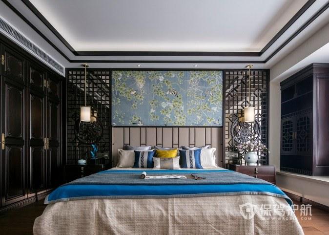 中式复古风卧室雕花板背景墙装修效果图