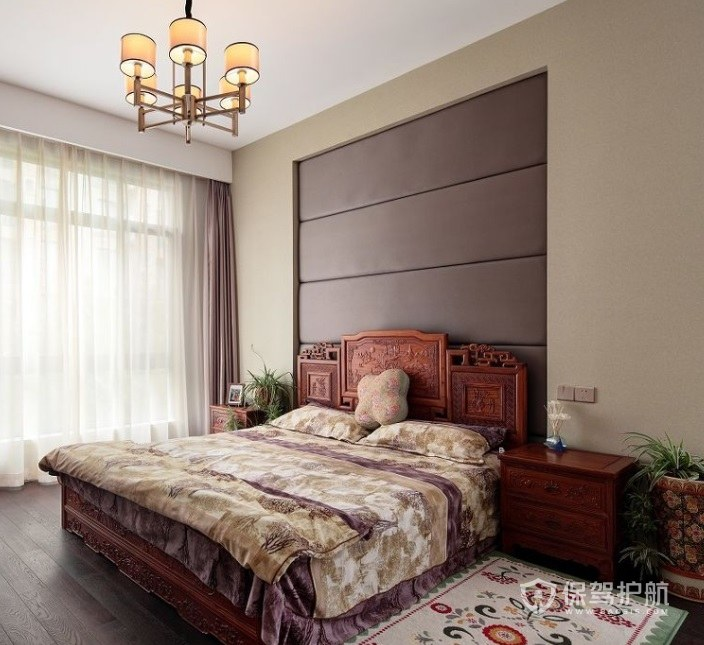 新中式乡村风卧室碎花地毯装修效果图