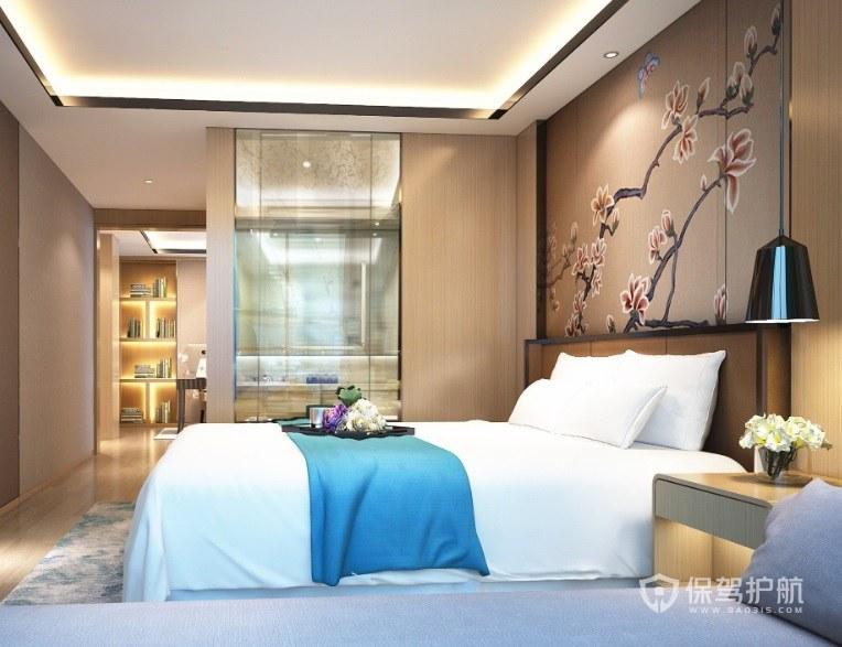 新中式卧室梅花墙绘背景墙装修效果图