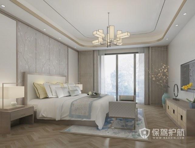新中式文雅風臥室推拉陽臺門裝修效果…