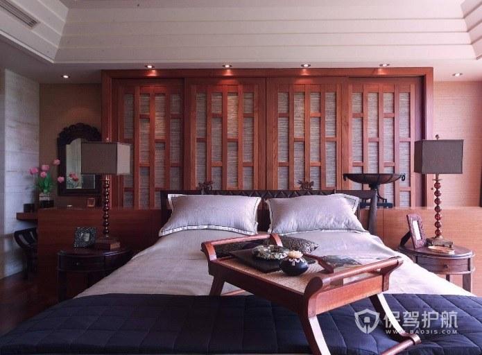 中式古典文雅风卧室小茶桌装修效果图