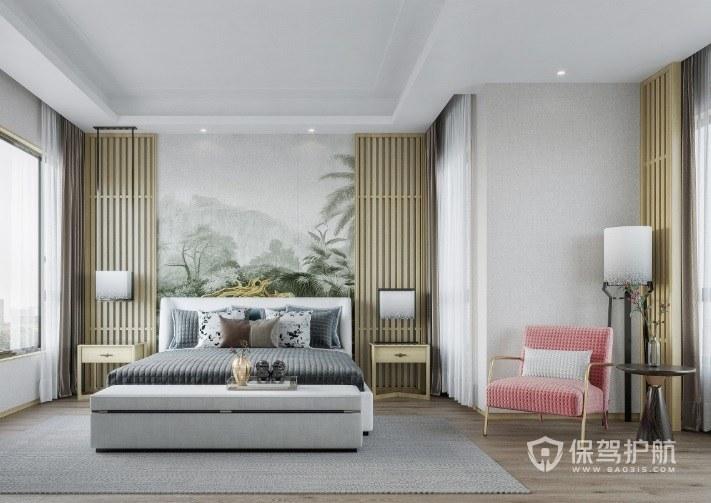 新中式轻奢风卧室背景墙墙绘装修效果图