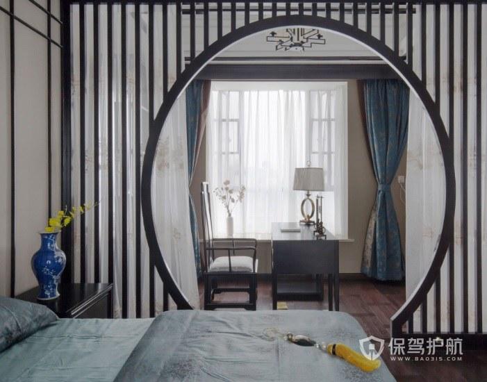中式复古风卧室拱门隔断装修效果图