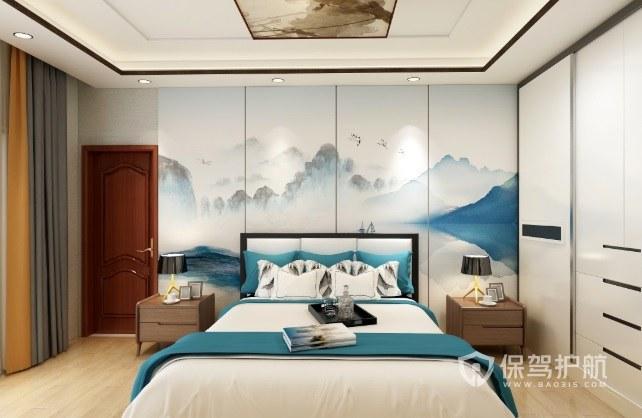 新中式淡雅风卧室吊顶墙绘装修效果图