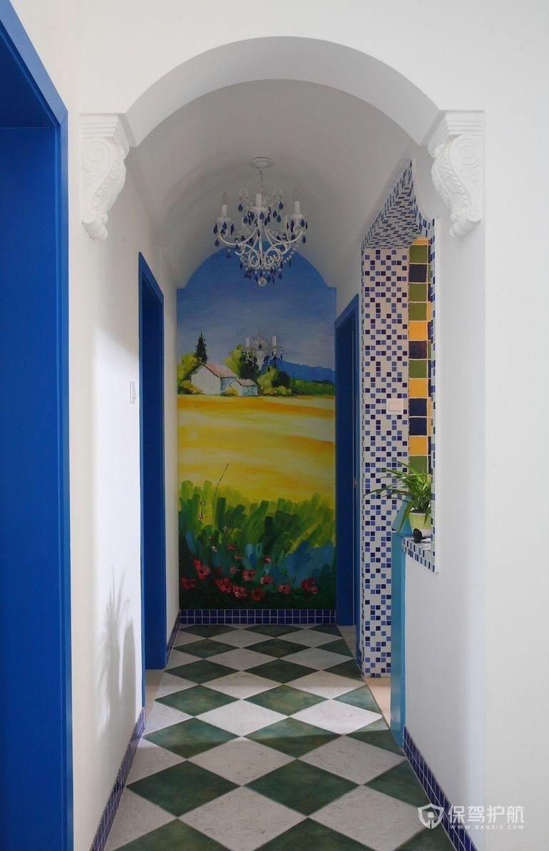 地中海风二居室玄关壁纸装修效果图