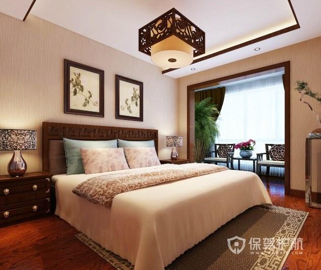 中式古典風臥室雕花板吊燈裝修效果圖…