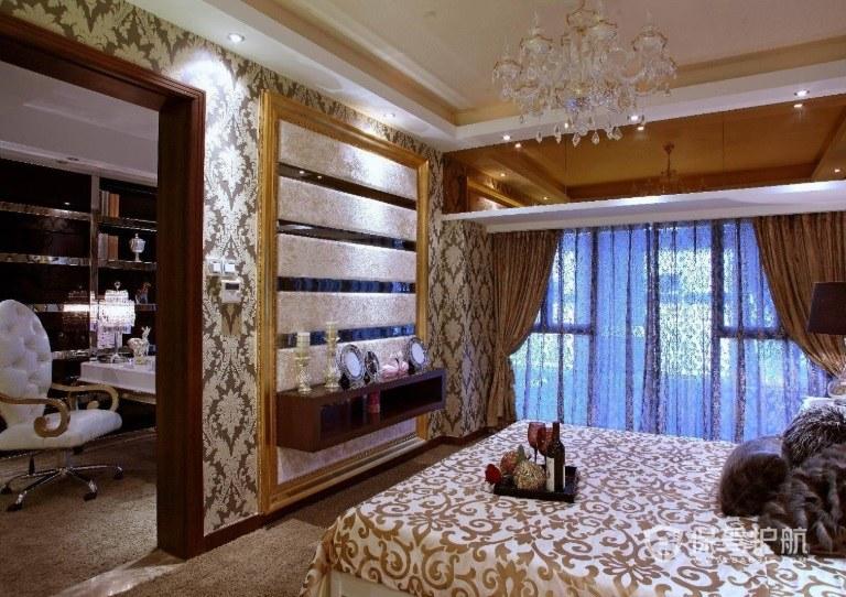 欧美风豪华卧室隔断墙装修效果图