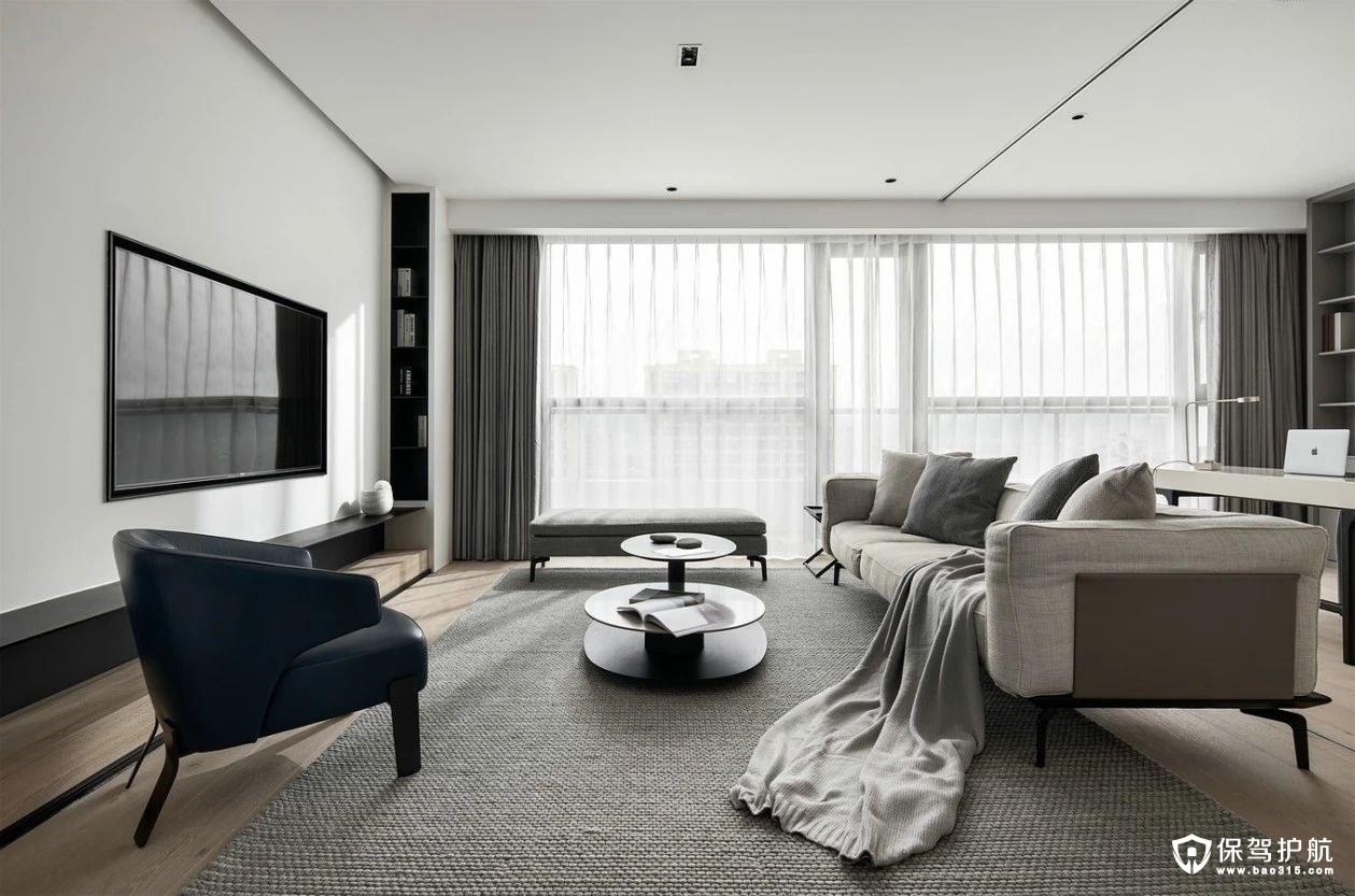 中海滨湖公馆克制极简主义风格三居室装修效果图