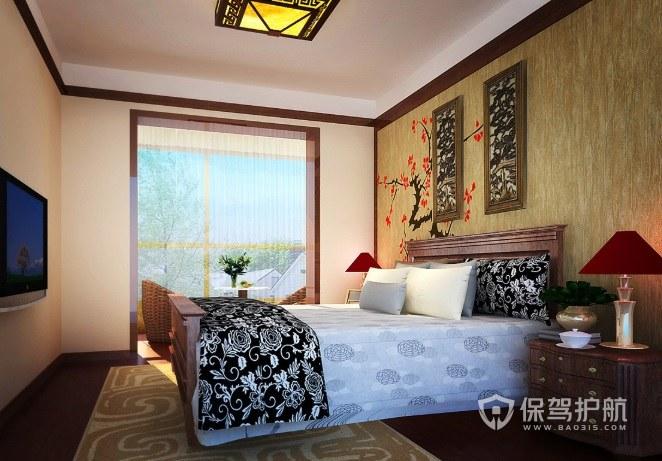 中式乡村复古风卧室梅花墙绘装修效果图