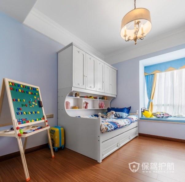 38平儿童房储物柜与床一体装修效果图