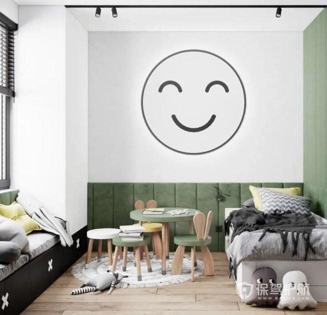 简约儿童房笑脸背景墙装修效果图