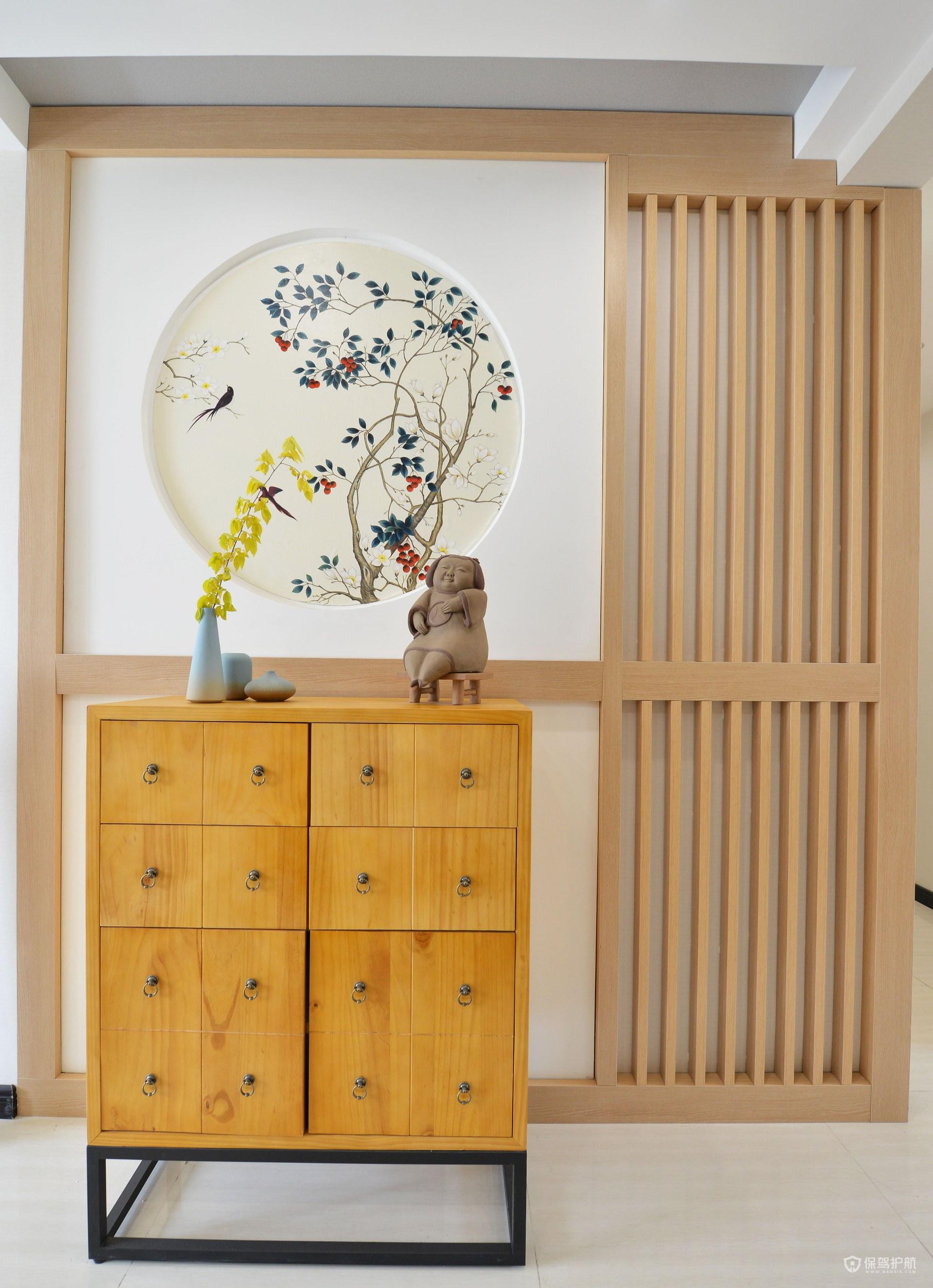新中式原木风三房玄关柜装修效果图