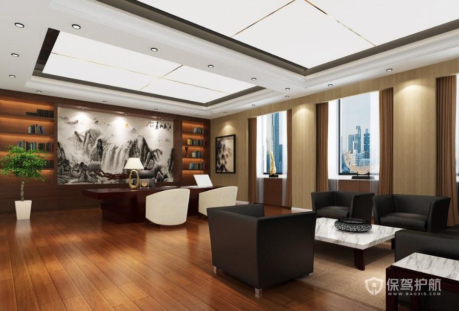 新中式山水领导办公室装修效果图