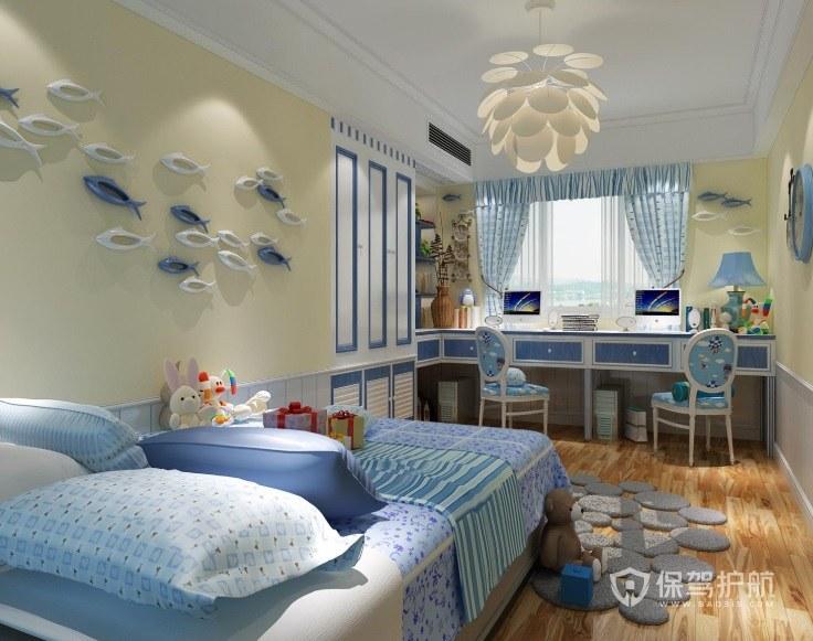蓝色主题儿童房花状灯饰装修效果图