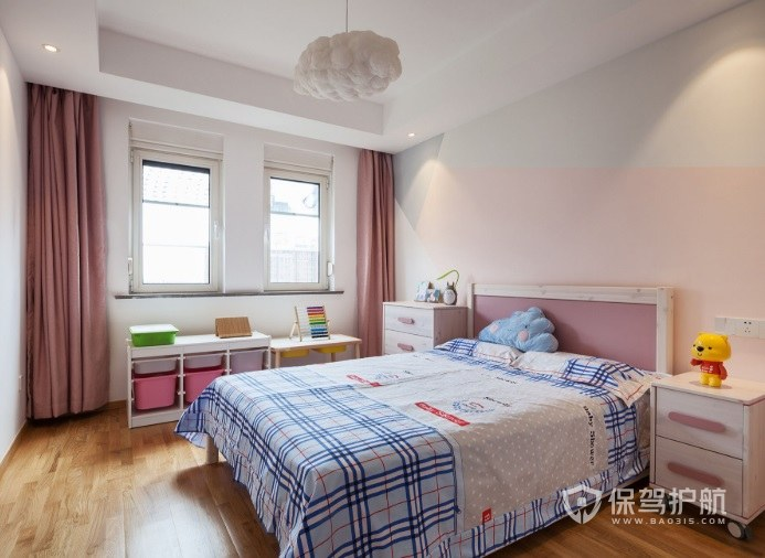 北歐風兒童房粉色窗簾裝修效果圖
