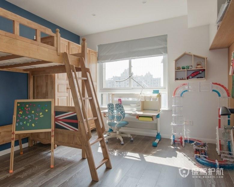 原木風兒童房上下床爬梯裝修效果圖