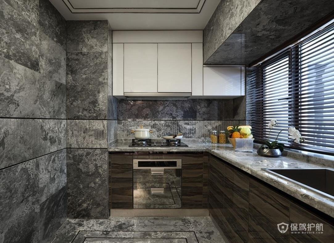 新中式風格三居室廚房裝修效果圖