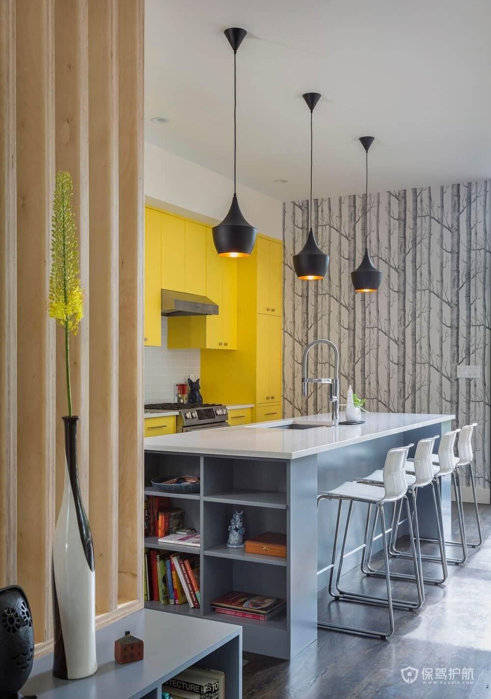 現代北歐風公寓廚房吧臺裝修效果圖