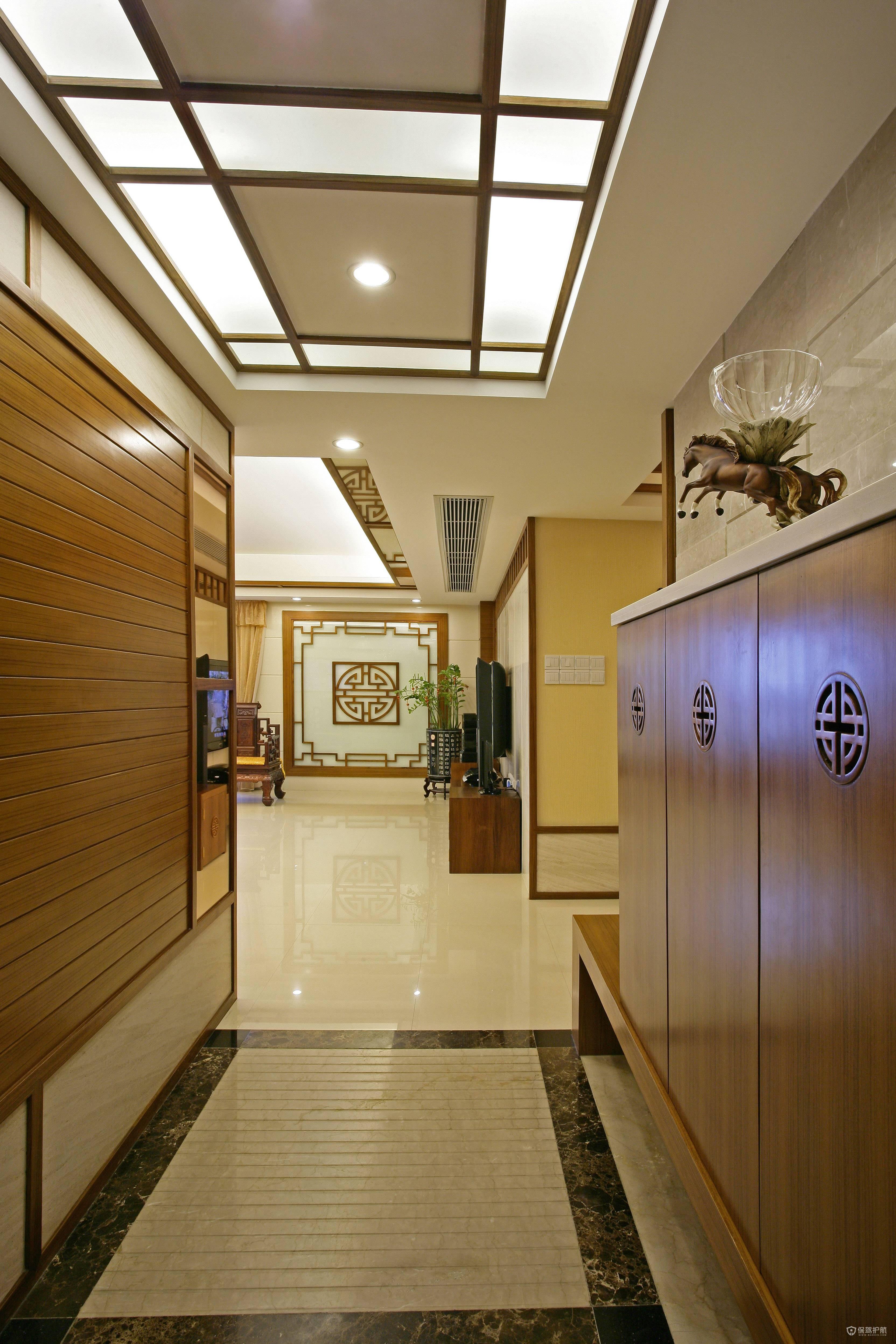 中式风格大户型玄关装修效果图
