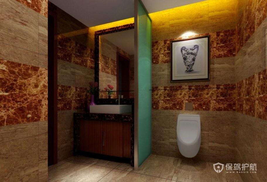 中式古典办公室卫生间亚搏体育平台app效果图