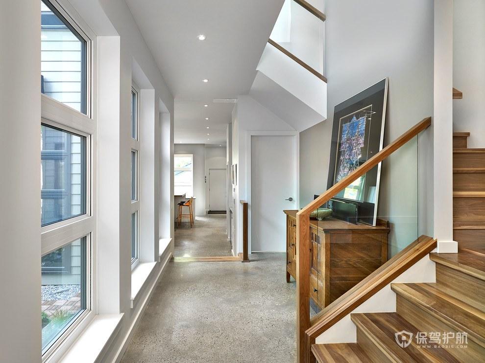 簡約美式別墅玄關走廊樓梯裝修效果圖…