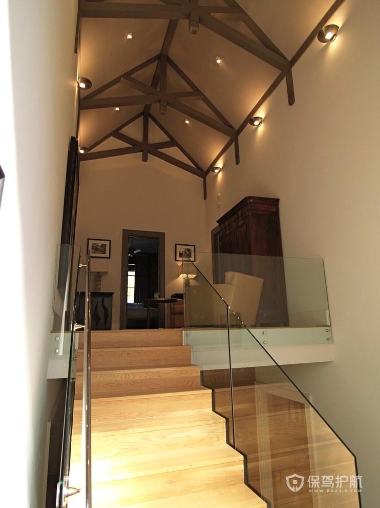 美式混搭风复式走廊楼梯装修效果图