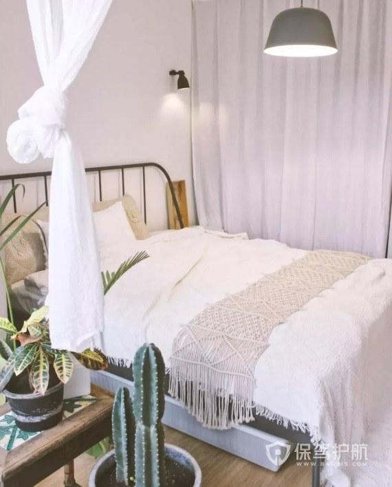 45平公寓ins风卧室铁艺床装修效果图…
