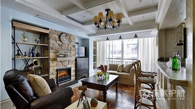 148㎡美式復古設計,客廳掛壁爐,廚房開放式,好看嗎?