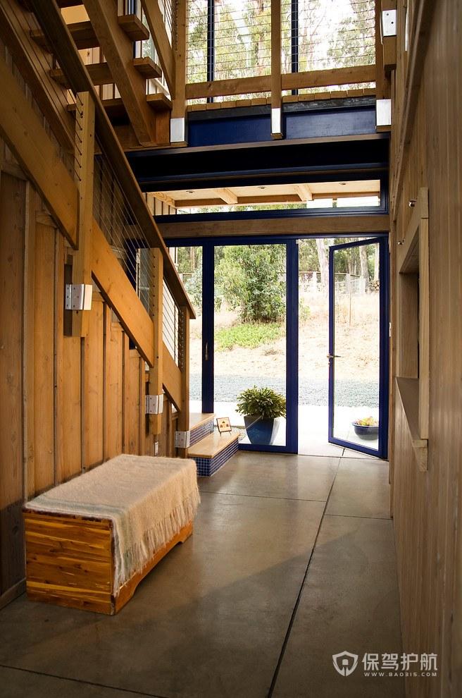 后现代风格原木别墅玄关装修效果图