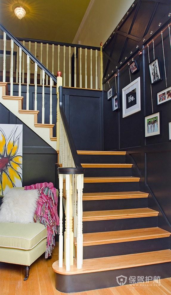 簡約美式風格別墅玄關樓梯裝修效果圖…