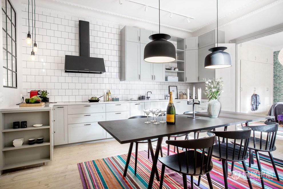 130平北歐風格三居室廚房餐廳裝修效…