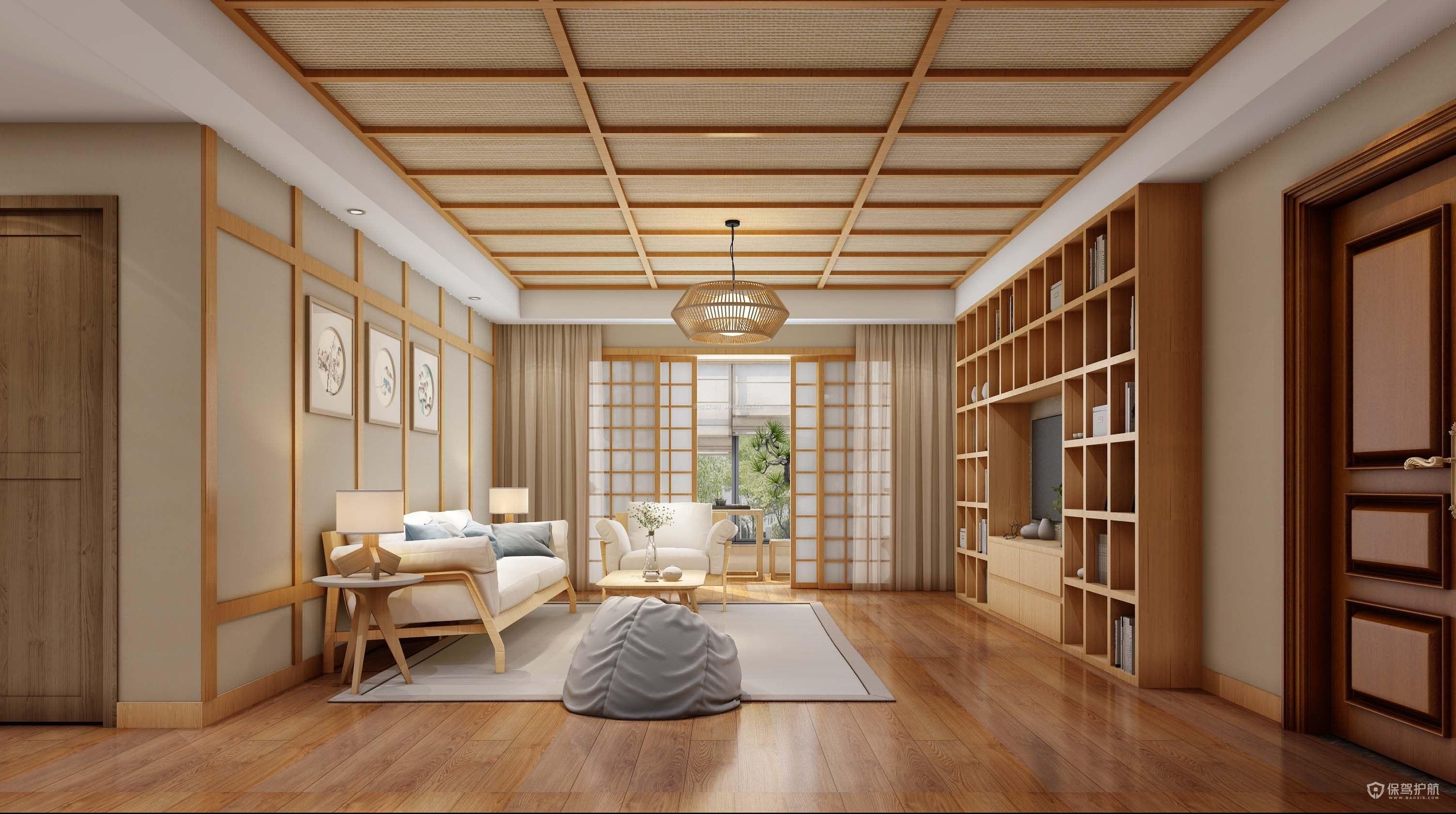 160平日式三居室客廳吊頂裝修效果圖…