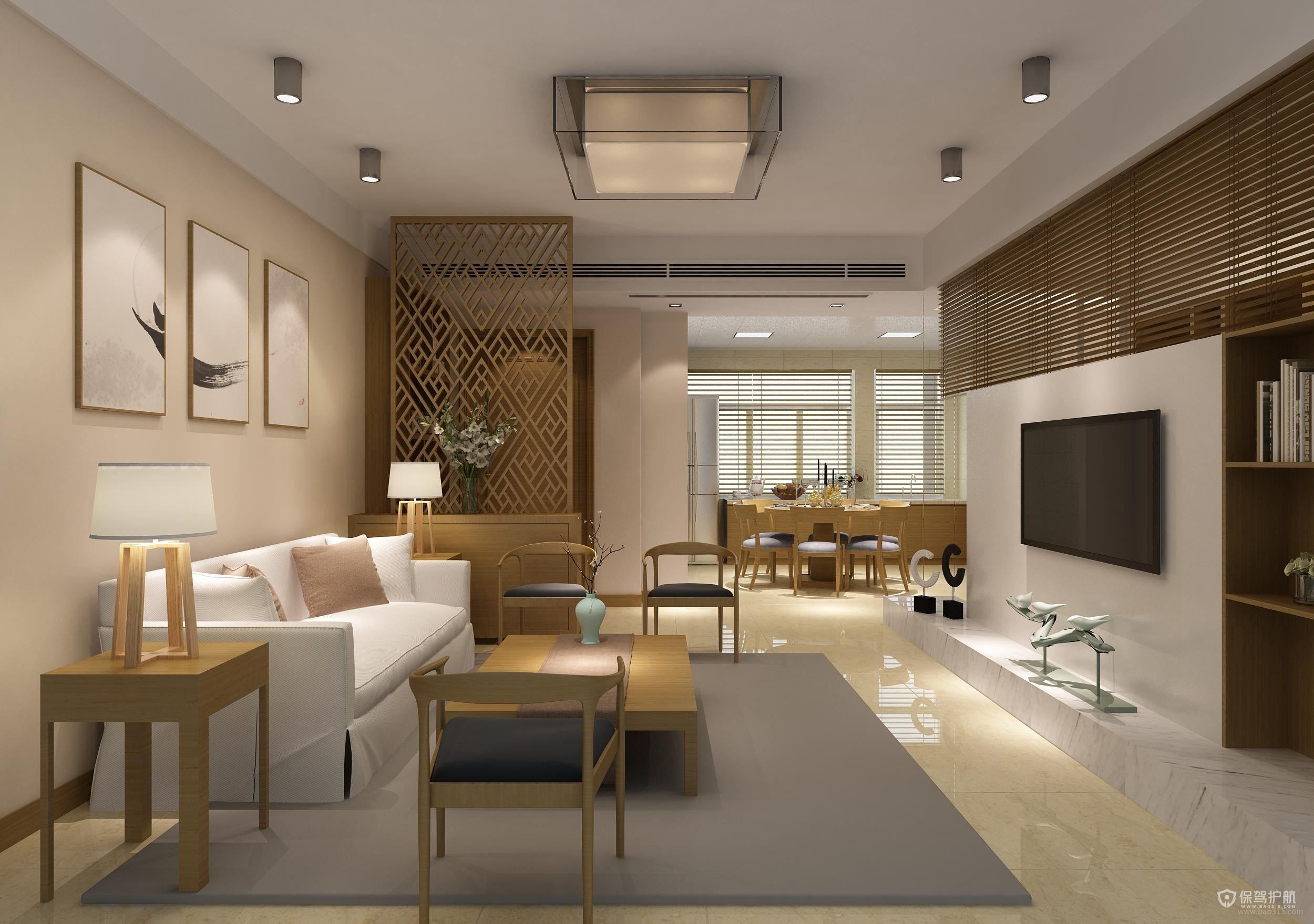 140平日式三居室兩廳客廳裝修效果圖…