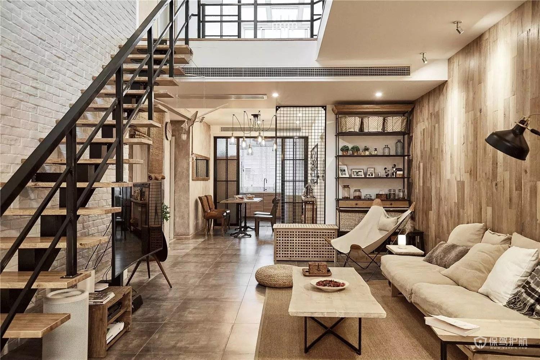 日式工业风loft公寓客厅装修效果图