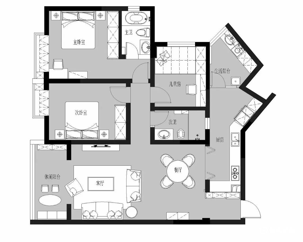 【三室一廳裝修效果圖】130平優雅美式三室一廳裝修實景圖