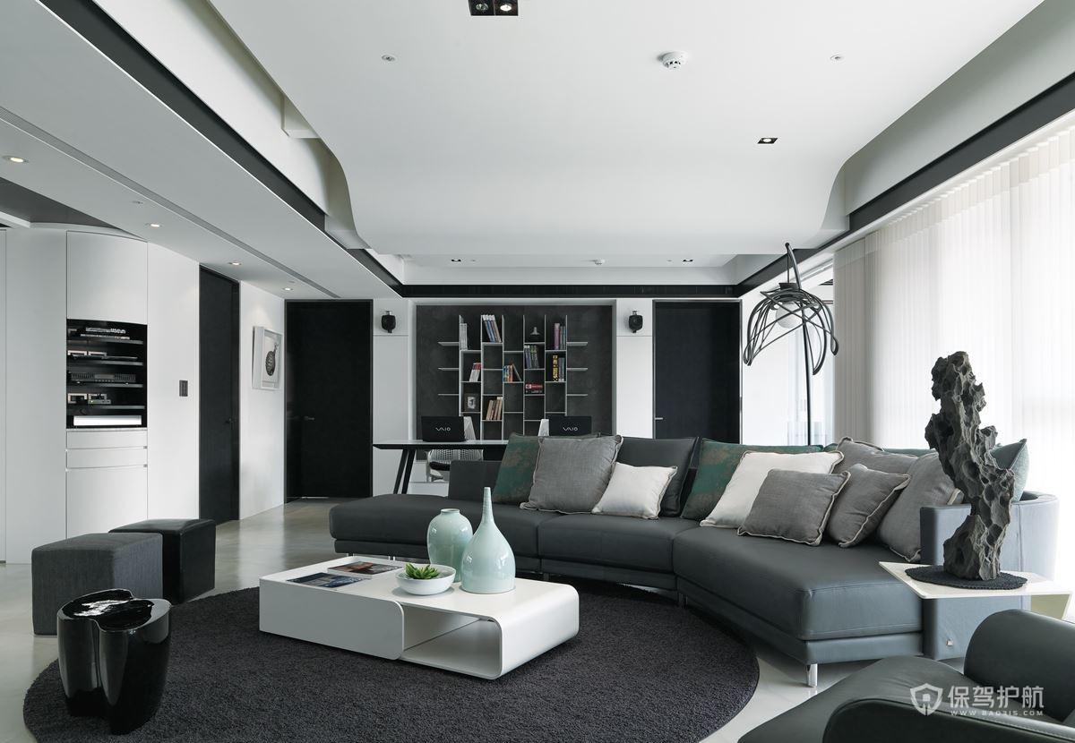 160平后現代風格三居室客廳裝修效果…
