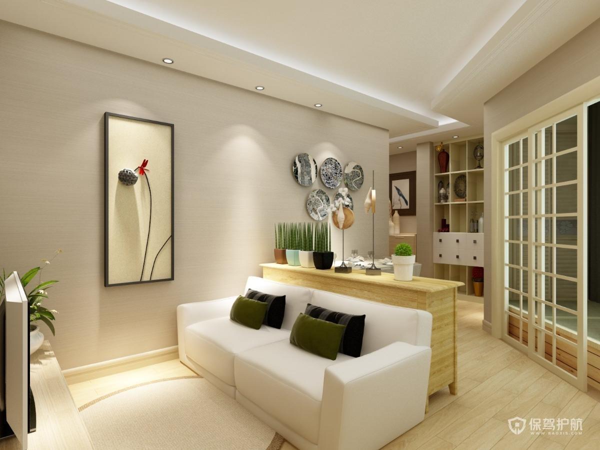 50平简约一居室公寓客厅亚搏体育平台app效果图