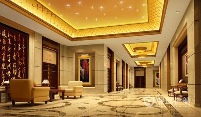 中式风格酒店大堂吊顶装修实景图