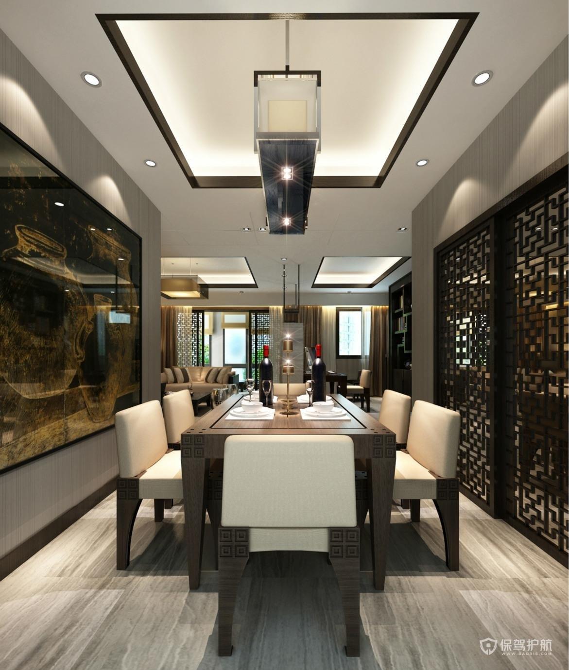中式大户型餐厅吊顶亚搏体育平台app效果图
